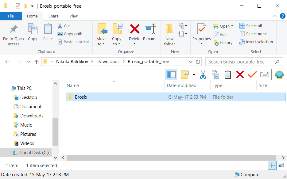 Opened Brosix archive. Drag Brosix folder to a destination of your choice.