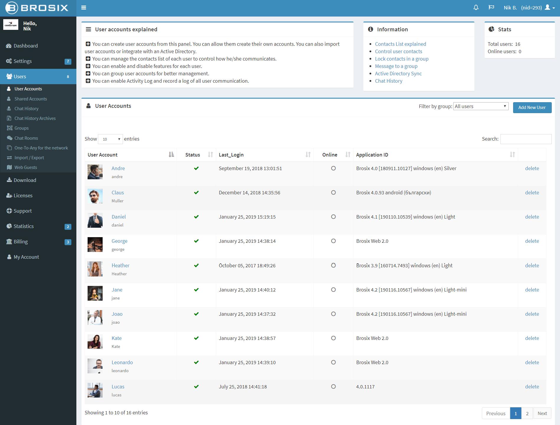 Manage User Accounts - Brosix
