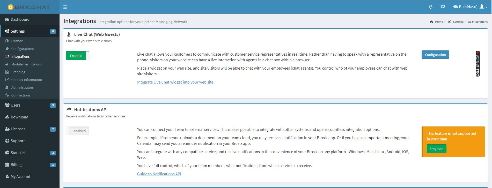 Brosix Notifications API
